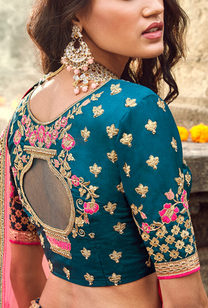 Blue silk Lehenga Choli - Desi Royale