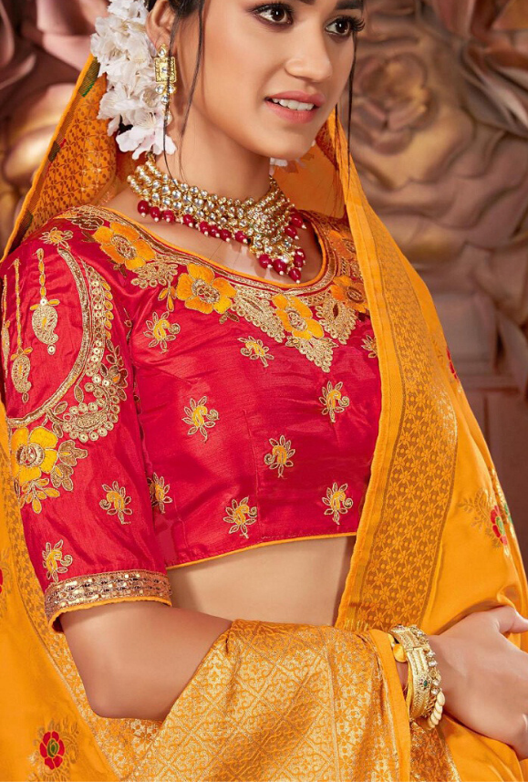 Yellow and Red Silk Saree - Desi Royale
