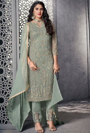 Sea Green Party Wear Salwar Suit - Desi Royale