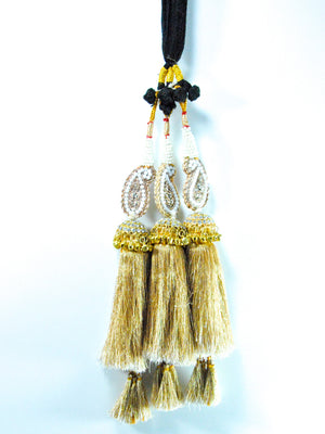 Gold Peacock Parandi with Pearls and Bells - Desi Royale