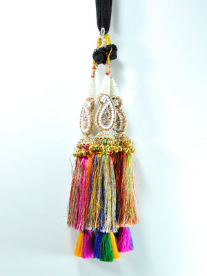 Multicolored Peacock Parandi with Pearls and Bells - Desi Royale