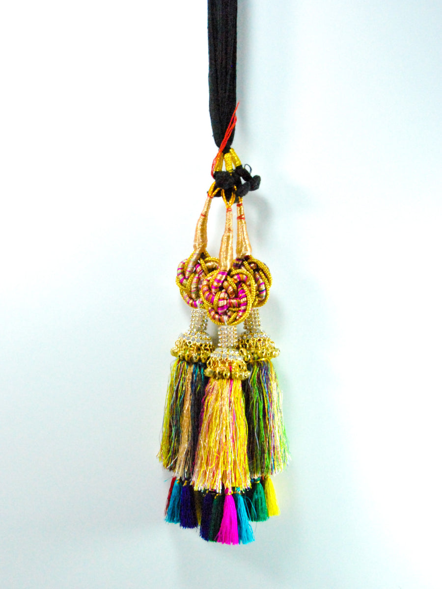 Multicolored Zigzag Parandi with Diamonds and Bells - Desi Royale