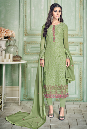 Olive Green Salwar Suit - Desi Royale