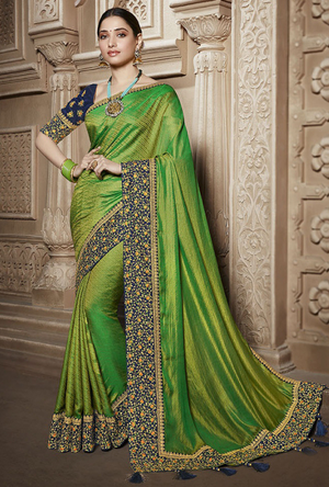 Green and Navy Blue Silk Saree - Desi Royale