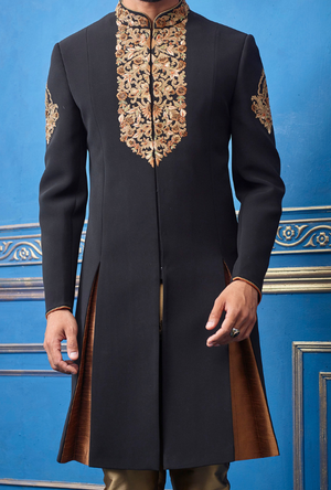 Black and Copper Mens Sherwani