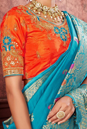 Sky Blue and Orange Silk Saree - Desi Royale