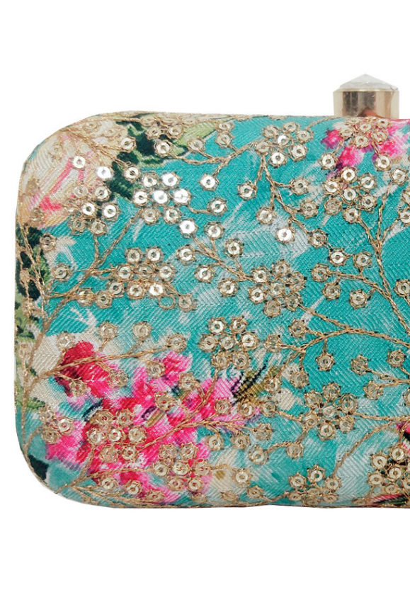 Blue Flower Clutch bag - Desi Royale