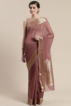 Brown Linen Saree
