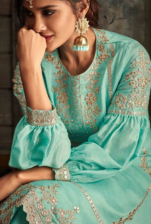 Sea Green Salwar Kameez - Desi Royale