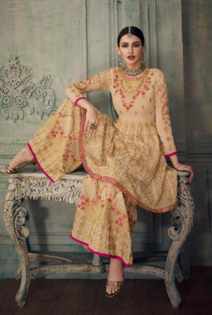Beige Sharara Suit - Desi Royale