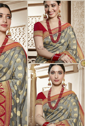Grey and Red Silk Saree - Desi Royale