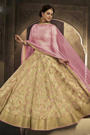 Beige And Pink Embroidered Party Wear Lehenga Set - Desi Royale