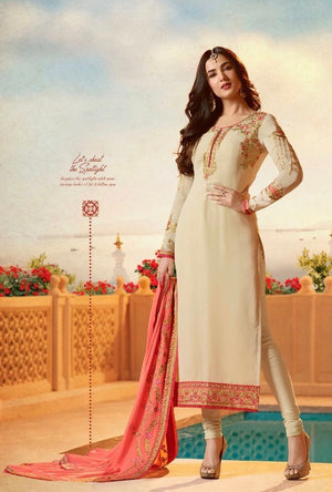 Beige Embroidered Suit - Desi Royale
