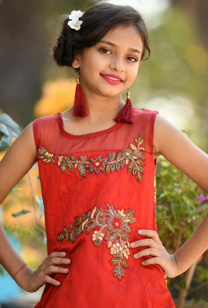 Kids Red Dress - Desi Royale