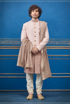Baby Pink and Cream Mens Sherwani