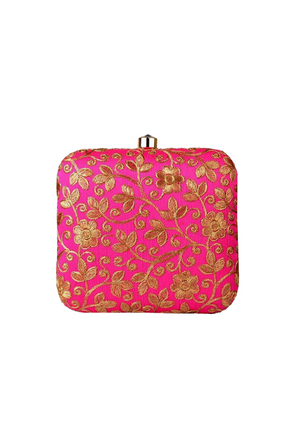 Pink and Gold Clutch bag - Desi Royale