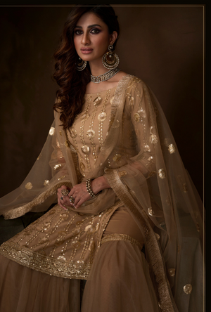 Beige Sharara Suit