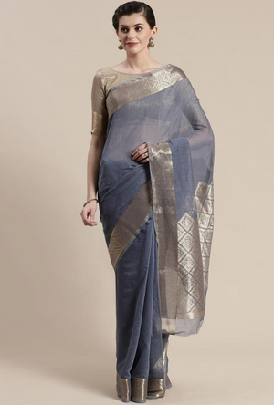 Navy Blue Linen Saree