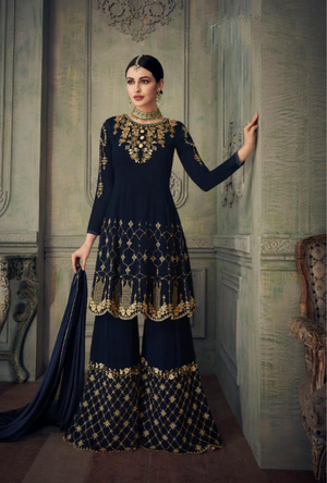 Navy Blue Sharara Suit - Desi Royale