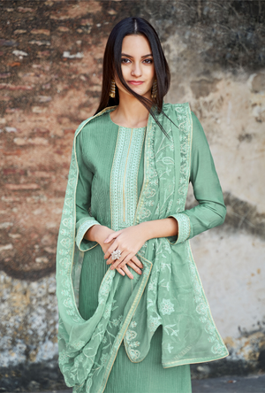 Green Palazzo Suit - Desi Royale