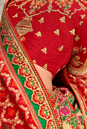 Red and Gold silk Lehenga Choli - Desi Royale