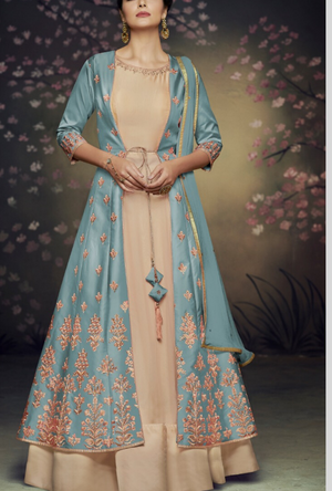 Blue party wear gown - Desi Royale