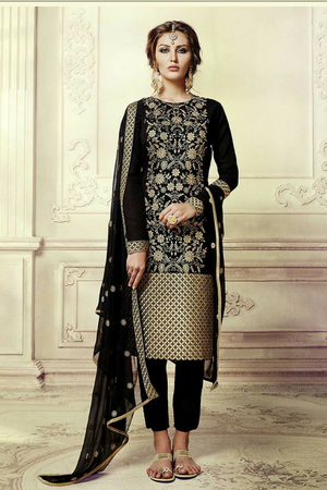 Black  Embroidered Suit - Desi Royale
