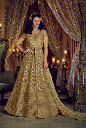 Golden Embroidered Anarkali Dress - Desi Royale