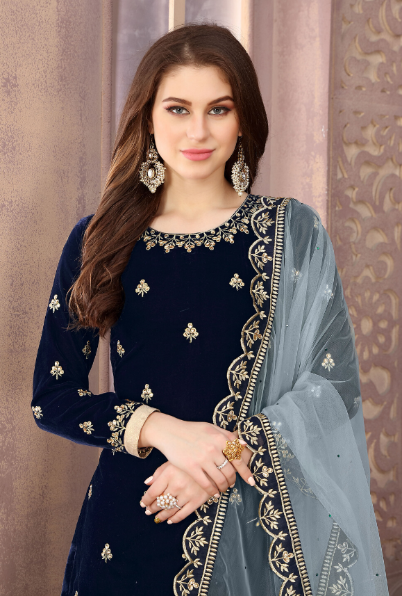 Navy Blue Patiala Suit - Desi Royale