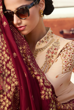 Cream and Reddish Pink Palazzo Suit - Desi Royale