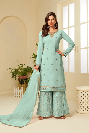 Aqua Blue Sharara Suit