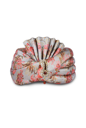 Grey Silk Wedding Groom Turban - Desi Royale