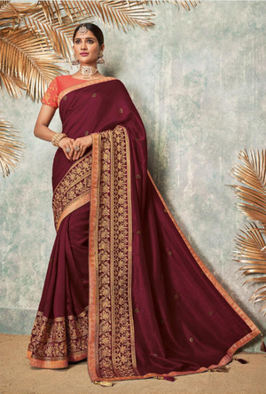 Maroon and Orange Silk Saree - Desi Royale