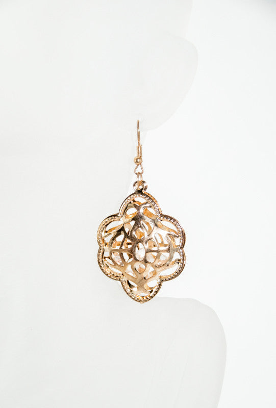 Gold filigree style earrings - Desi Royale