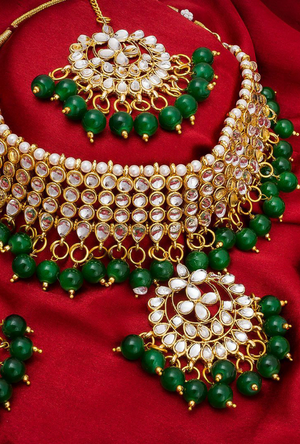 Bridal Green necklace set - Desi Royale