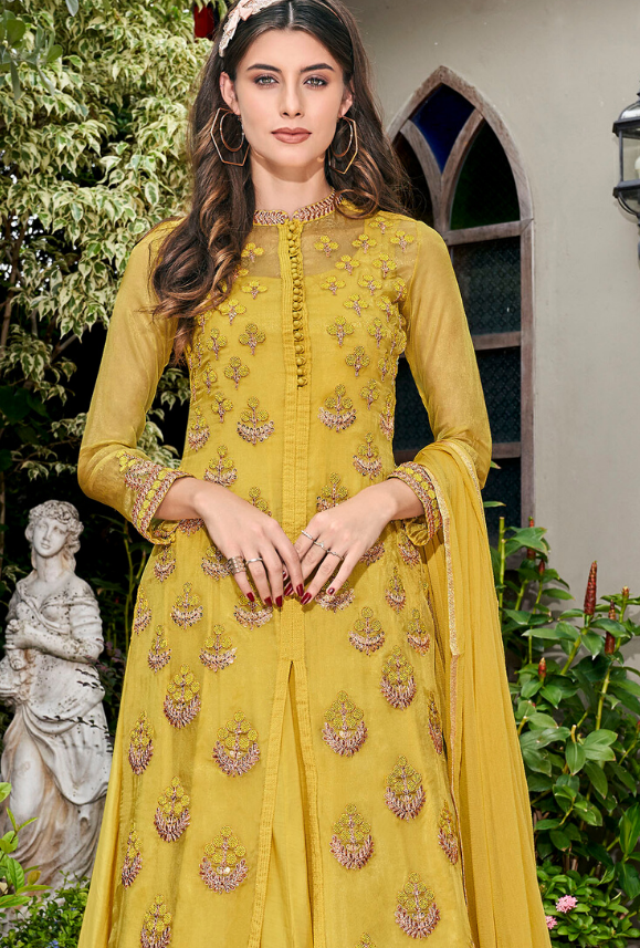 Yellow gown Suit - Desi Royale