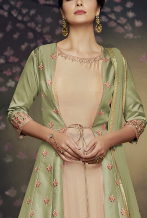 Green party wear gown - Desi Royale