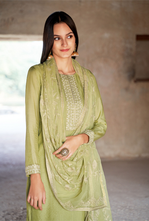 Pista Green Palazzo Suit - Desi Royale