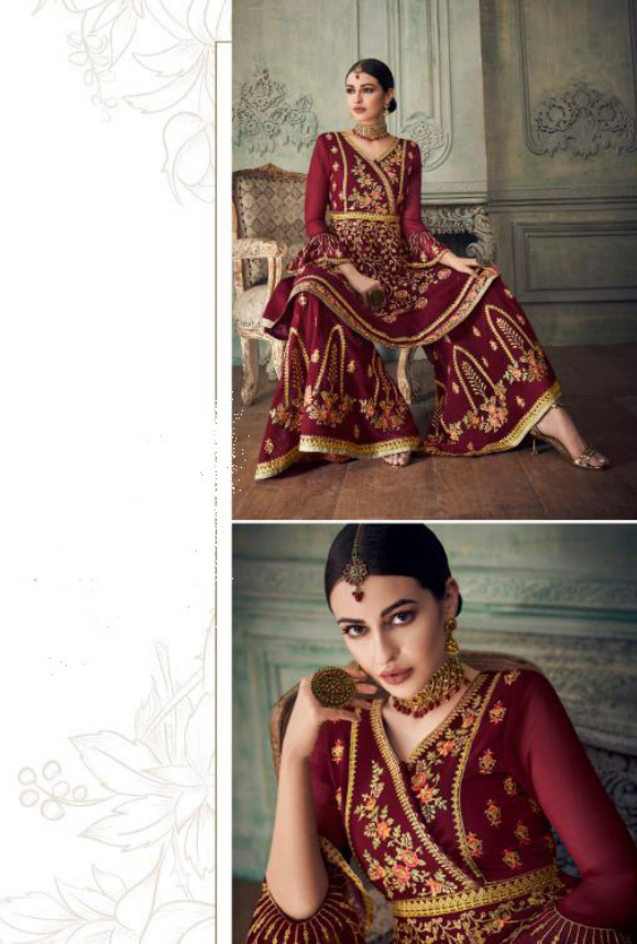 Maroon Sharara Suit - Desi Royale