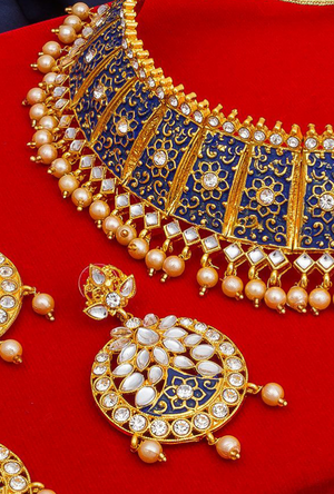 Blue Bridal necklace set - Desi Royale