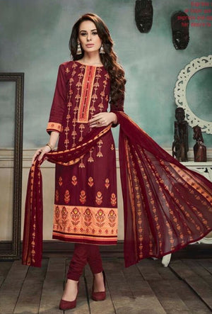 Maroon Indian Suit With Dupatta - Desi Royale