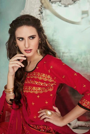 Red Indian Suit With Dupatta - Desi Royale