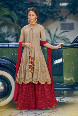 Beige and Maroon Designer Sharara Suit - Desi Royale