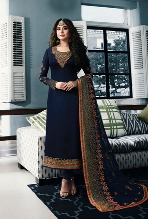 Navy Blue Salwar Suit - Desi Royale