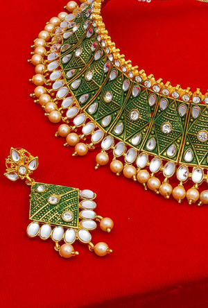 Green Gold Plated necklace set - Desi Royale