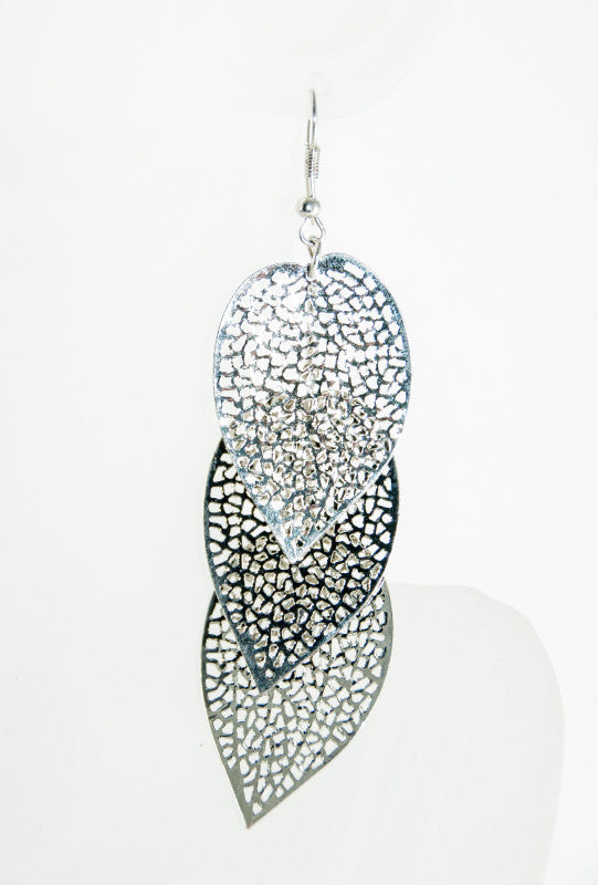 Silver leaf drop earrings - Desi Royale