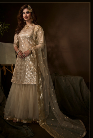 Dusky Beige Sharara Suit
