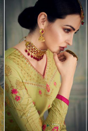 Olive Green Sharara Suit - Desi Royale