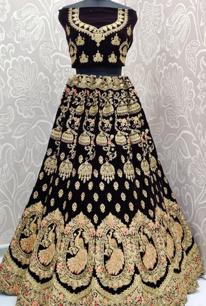 Dark Navy Blue Bridal Lehenga Choli