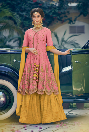 Pink and Mustard Designer Sharara Suit - Desi Royale